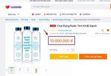 Chai nước được rao bán trên các trang TMĐT hồi tháng 5