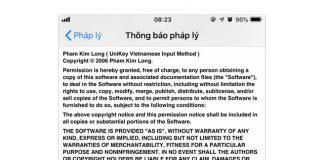 Thông báo về bàn quyền Unikey của anh Phạm Kim Long trong phần Thông báo Pháp lí trên những chiếc điện thoại iPhone.